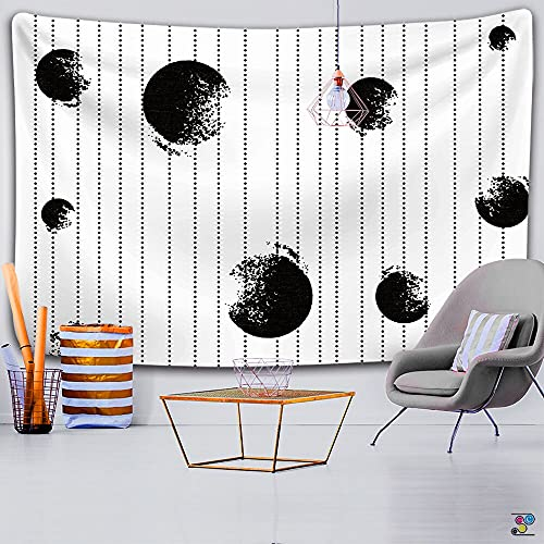 Tarot Card Astrología Brujería Paño colgante Hippie Mandala Blanco Negro Sol Luna Tapiz Colgante de pared Decoración del hogar A2 73x95cm
