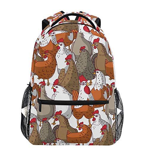Oarencol Cartoon-Rucksack mit Tiermotiven, Hühnern, bunt, für Reisen, Schule, Hochschulen, für Damen und Mädchen
