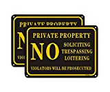 no trespassing Signs Private Property,No Soliciting No Loitering Metal Sign (2 Pack) 14'X10' Rust Free Aluminum Sign UV Printed Metal Reflective Yard Sign