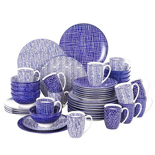 vancasso Serie TAKAKI, Servizio di Piatti per 12 Persone, Set Piatti 48 Pezzi in Procellana Blu Stile Giapponese con Piatti da Dessert, Tazza da Caffè, Piatti Piatto, Ciotole per Cereali