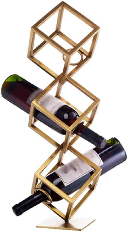 Hhoro Estante para Vino Estante para Vino Simple de Acero Inoxidable Adornos Creatividad Estante para Vino Estante para Botellas de oro para el hogar Tienda Inicio Bar (Tamaño  15  38.5 cm)