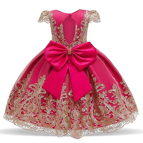 NNJXD Niña Elegante Flor Bordado Tul Fiesta Boda Princesa Vestido Talla(120) 4-5...