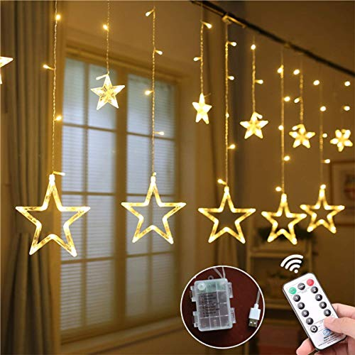 Weepong Star Curtain Lights 3xAA Batteries/USB Operated Window Curtain Lights with Remote 12 Star 138 LED Icicle Lights String, Fairy Star Lights for Bedroom Wall Party Wedding Christmas (8 Modes)