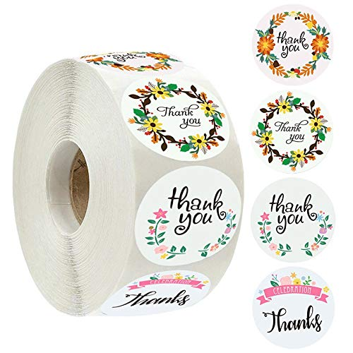 Thank You Stickers with Flowers Wreath Garland Handmade Round Adhesive Labels Wedding New Year Party Guest Gifts Box Decoration