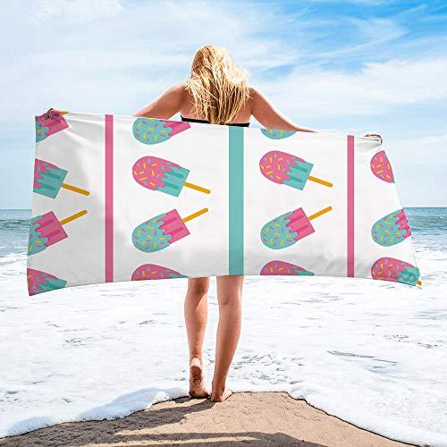 Surwin Toalla de Playa Grande, Microfibra Hawai Impresión Secado Rápido Toalla de Piscina Toalla de Arena Antiadherente para Verano Playa, Yoga, Picnic, Hotel (Helado,80x160cm)