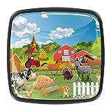 Perillas de cristal para armario de cajones de animales de granja de cerdo de vaca y caballo burro para armario, paquete de 4