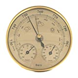 Uonlytech Weather Station Wall Decor Wood Frame Barometer Thermometer Hygrometer for Home