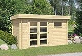 Alpholz Gartenhaus Emma aus Massiv-Holz | Gerätehaus mit 28 mm Wandstärke | Garten Holzhaus inklusive Montagematerial | Geräteschuppen Größe: 390 x 300 cm | Flachdach
