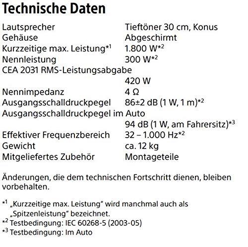 Sony XS-NW1202E Auto Subwoofer (1800 Watt und RMS 420W )