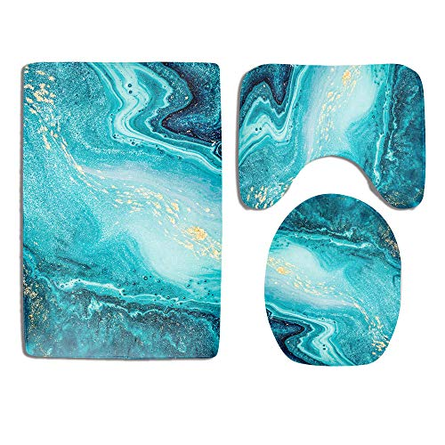 Marble Bathroom Rug Set 3 Piece Luxury Ocean Art Agate Blue Paint Gold Powder Non Slip Bath Carpet Mat U-Shaped Contour Mat Toilet Lid Cover Sets Durable Flannel Home Washroom Decor Shower Accessories