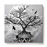 Square Canvas Wall Art Oil Painting for Bedroom Living Room Home Decor,Black and White Skull Head Tree Pattern Office Artworks,Stretched by Wooden Frame,Ready to Hang,16 x 16 Inch