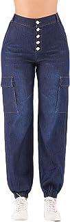 Mujer Elasticos Skinny Vaqueros Cintura Alta Slim Fit Jeans Moda Botones Pantalones Mezclilla Pantalones Lápiz Pantalones ...