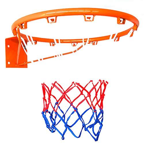ZZLYY Aro De Baloncesto para Adultos,Aro De Baloncesto Hueco Reforzado,Adecuado para Deportes Y Fitness En Interiores Y Exteriores, con 2 Redes De Baloncesto, Naranja