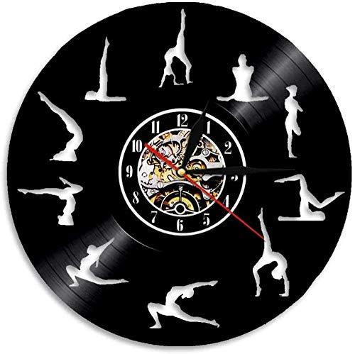 Reloj de pared de vinilo con grabación de música para yoga, fitness, teatro en casa, regalos para niños, dormitorio, decoración de arte 12 CD de vinilo reloj de cuarzo