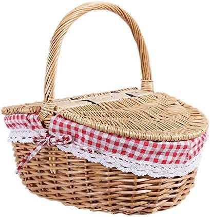 Don't miss the campaign XUXUWA WH Country Style Wicker Picnic Hamper and with Lid Seasonal Wrap Introduction Basket