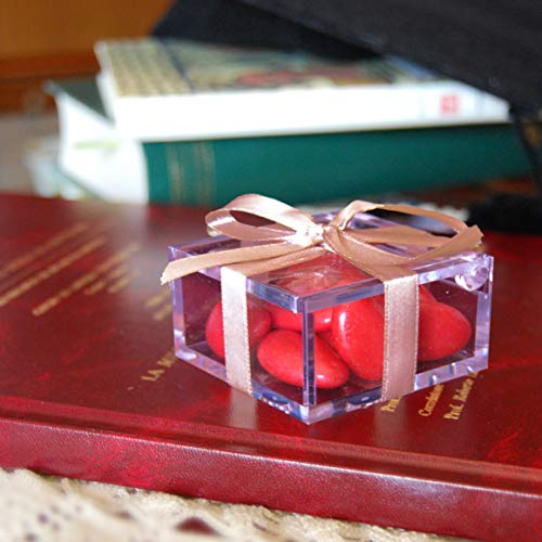 Omada Design Scatolina Portaconfetti in Plexiglass, 48 pezzi, formato 6 x 6 x 3 cm, Bomboniere trasparenti, idea regalo per cerimonie, con Coperchio