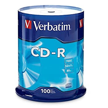 Verbatim CD-R Blank Discs 700MB 80 Minutes 52X Recordable Disc for Data and Music - 100pk Spindle Frustration Free Packaging