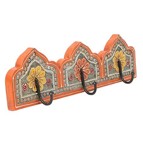 Casa Moro Patère Orientale Taj Mahal C avec 3 Crochets dans de Jolis Motifs Florals Multicolores en Bois Massif Peint et sculpté à la Main Crochet Mural Vintage Porte-Manteaux | Taj Mahal C MA15-33-C