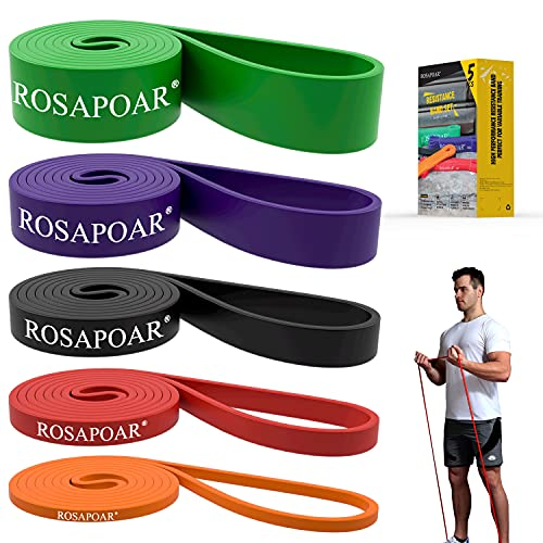 ROSAPOAR Pull Up Resistance Bands Assist Exercise Workout Band Set for Fitness Strength Weightlifting and Powerlifting- Stretch Mobility Assistance Bands at Home Gym/Crossfit Training (Set of 5)