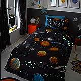 Happy Linen Company Set de Fundas Infantiles para edredón - Viaje Espacial - Brilla en la Oscuridad - Azul Marino - Doble