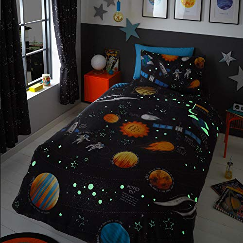 Happy Linen Company Boys Girls Kids Planets Space Rockets Glow In The Dark Navy Blue Single Duvet Cover Bedding Set