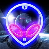 Alien Neon Signs Lights for Wall Decor, Battery/USB Operated Led Neon Signs, Blue Alien Neon Night Light for Bedroom, Valentine's Day, Christmas, Living Room, Kids Room, Teen Room (A-Blue/Pink)