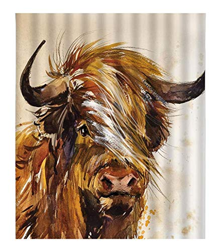 Highland Cow DIY 5D Diamond Painting Numbering Kit Abstract Watercolor Farm Animal Portrait of Yak Longhorn Funny Farmhouse Rustic Full Drill Painting Arts Craft Canvas 12x16 inch s,Brown