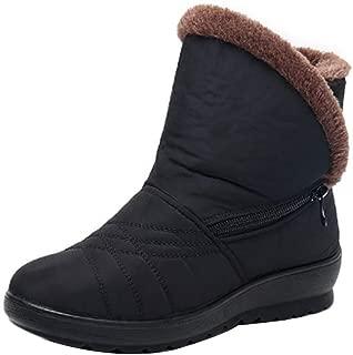 Fulision Women Winter Snow Boot Flat Platform Waterproof Warm Female Boots Non-Slip Round Toe Short Boots with Zipper