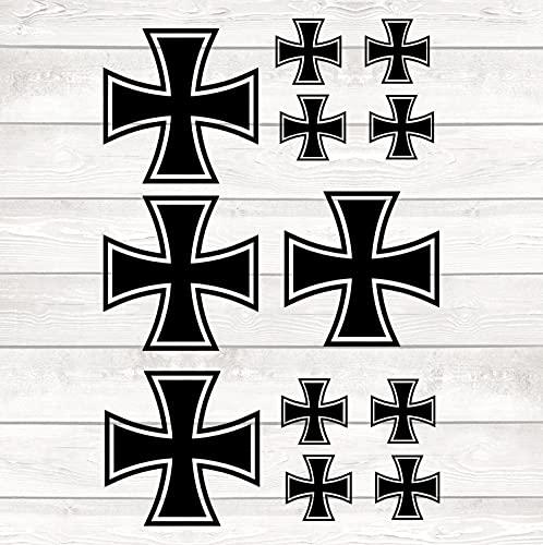 myrockshirt 12 x Aufkleber Eisernes Kreuz Set Bogen 30x20cm Kreuz Bundeswehr Luftwaffe Eisern Kreuz Cross Autoaufkleber Scheibe,Lack,Glas