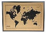 Milimetrado – Carte du monde Tableau en liège/carte du monde Poster Tableau en liège avec cadre en bois de pin – 50 x 70 cm – Noir