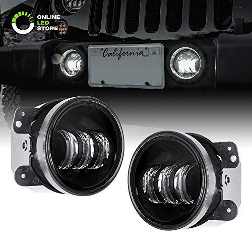 "2pc 4"" Osram LED Fog Lights for Jeep Wrangler JK Unlimited [60W] [6,500K] 07-18 Jeep Wrangler Accessories for Front Bumper Round Fog Driving Lights Cherokee Dodge Chrysler"