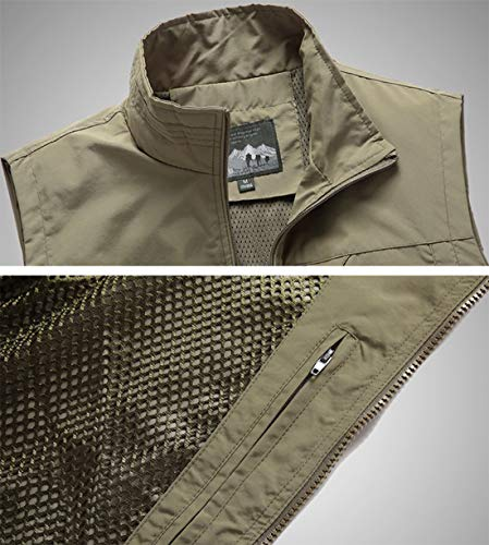 YDSH Men's Vest Outdoor Reporter Photography Vest Sleeveless Shirt Safari Vest Multi-Pocket Hunting Fishing Camping Multi-Pocket Breathable mesh Navy Blue