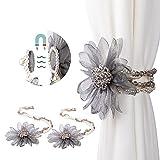 Tayis Corbata de Cortina en Forma de Flor, Corbata de Cortina magnética de Cristal Perlado para Cortinas al Aire Libre para niños (Gris)