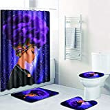 EVERMARKET Creative Colorful Printing Toilet Pad Cover Bath Mat Shower Curtain Set for Bat...