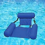 Hamaca de piscina flotante hinchable de piscina, flotador de hamaca de agua, asiento plegable, multiusos, plegable, flotante, hamaca portátil, flotador para exterior e interior, color azul