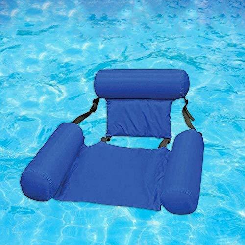 FANIER Aufblasbare Hängematte Lounge, Pool Floating Hammock Recliner Lounge Aufblasbarer Badelounge Wasserhängematte Wasseriege Pool Schwimmende Bett Wasser Sofa (Blau)