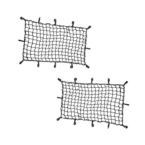 "CZC AUTO 22""x38"" Black Latex Bungee Cargo Net Strech to 44""x76"" Luggage Netting with 2""X2"" Small Mesh and 12 Adjustable Plastic Hooks for Rooftop Cargo Carrier Roof Rail Rack Hitch Basket SUV (2 Pack)"