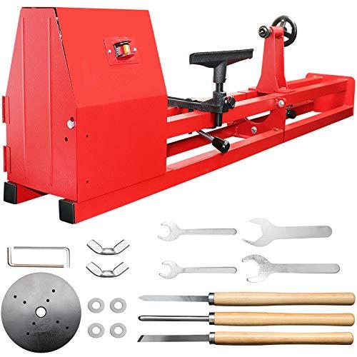 """SENDUO Wood Lathe 14"""" x 40"""", Power Wood Turning Lathe 1/2HP 4 Speed 1100/1600/2300/3400RPM, Benchtop Wood Lathe with 3 Chisels."""