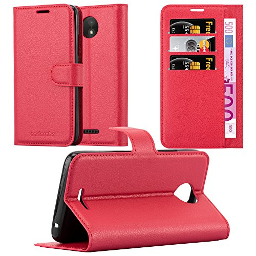 Cadorabo Hülle für Motorola Moto C in Karmin ROT - Handyhülle mit Magnetverschluss, Standfunktion & Kartenfach - Hülle Cover Schutzhülle Etui Tasche Book Klapp Style