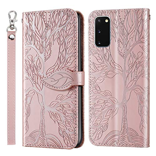 iCase Women's Wallet for Samsung Galaxy S20+ Folio Notebook Leaf Pattern Case Flip Protective Skin Cover for Women Girls Money Pocket Slim with Magnetic Kickstand Phone Case for Samsung S20+,RoseGold