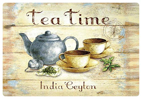 Blechschild 20x30cm gewölbt Tea Time India Ceylon Tee Deko Geschenk Schild Vintage