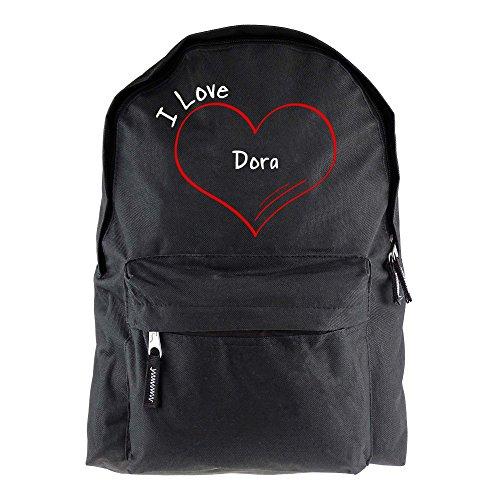 Rugzak modern I Love Dora zwart - grappig grappig spreuken party tas