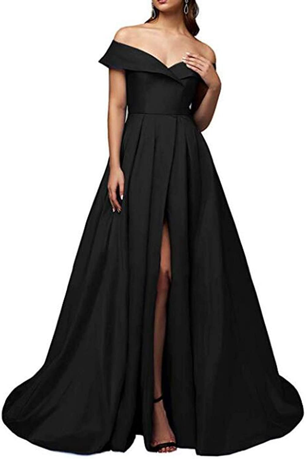Alilith.Z Sexy High Split Prom Dresses Off Shoulder Long Formal Evening Dresses Party Gowns for Women