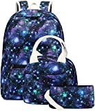 Backpack for Teen Girls School Bags Kids Bookbags Set Lightweight Backpack with Lunch Box and Pencil Case Galaxy(Blue Green Starry)