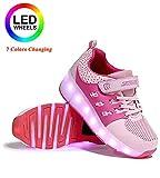 dhh LED Luz Flash Zapatos 7 Colores Zapatillas con Ruedas Niñas,Aire Libre Y Deporte Gimnasia Running Zapatillas con Doble/Soltero Ruedas,con Carga USB,Zapatos con Ruedas,PinkSingleWheel-32