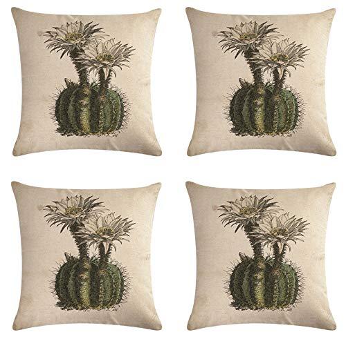 SCVBLJS Juego De 4 Fundas De Cojín De Lino De Cactus De Flores Blancas De 4 Fundas De Almohada Sofá Sofá Sala De Estar Decoración De Cama Fundas De Almohada 45 X 45 Cm