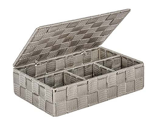 WENKO Aufbewahrungskorb mit Deckel Adria Taupe Klein - Badkorb mit Deckel und 4 Fächern, Polypropylen, 26 x 7.5 x 17 cm, Taupe