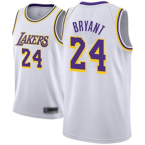 Rongchuang Maglia da Basket Maschile da Uomo, Lakers 24 Kobe Bryant Jerseys Traspirante per Il Pallone da Basket Ricamato Traspirante Swingman Jersey Traspirante Cool per Il Nostro Forever No.24 Hero