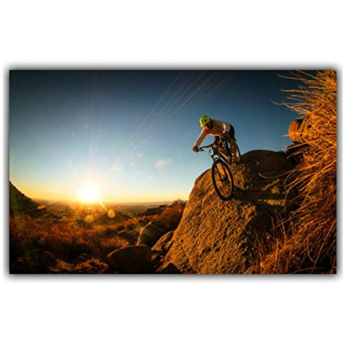 KONGQTE Mountain Bike Competition Poster Home Decoration Wall Poster Car Room Decoration Print on Canvas -40x60cm No Frame