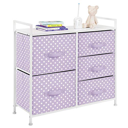 New mDesign Wide Dresser 5 Drawers Storage Furniture - Wood Top, Easy Pull Fabric Bins - Organizer f...